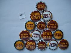 """15 ct 1"""" Iowa State Cyclones Inspired  Buttons Pinbacks Flatback craft hairbows #football"""