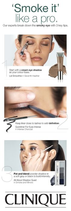 How to get a smoky eye look with this tutorial: Start with a cream eye shadow as your color base. Keep liner close to lashes to add definition. Pat and blend powder shadow in a soft gray or black to build intensity.