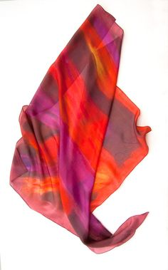 Firefly Silk Scarf HAndpainted. Square Hand by SilkScarvesDimo