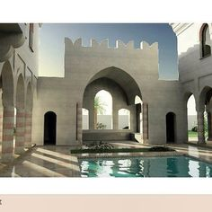 #classy #design my work #Private #villa #qatar #fountain #arches #woodwork…