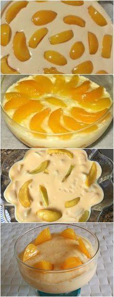 A mousse de pêssego combina muito bem com o nosso verão, e é facílima de preparar! VEJA AQUI>>>No liquidificador, triture os pêssegos junto com a calda. Adicione o leite condensado e o creme de leite sem soro, e volte a bater. #receita#bolo#torta#doce#sobremesa#aniversario#pudim#mousse#pave#Cheesecake#chocolate#confeitaria Creme, Deserts, Food And Drink, Pie, Sweets, Bananas, Cakes, Fitness, Delicious Recipes