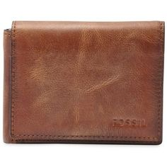 Fossil Brown Derrick Leather Flip Trifold Wallet ($45) ❤ liked on Polyvore featuring men's fashion, men's bags, men's wallets, brown, mens leather wallet, mens tri fold wallet, mens leather front pocket wallet, mens brown wallet and tri fold mens leather wallet