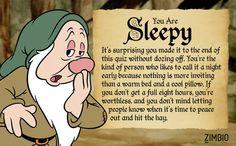 I took Zimbio's Seven Dwarfs quiz and I'm Sleepy! I DO need a lot of sleep. Goofy Disney, Disney Cartoon Characters, Seven Dwarfs Costume, Dwarf Costume, Snow White Seven Dwarfs, Mickey Mouse Wallpaper, I Love Snow, Disney Fanatic, Disney Pictures
