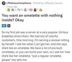 """For some customers """"plain"""" or """"regular"""" means """"please read my mind,"""" apparently. #customer #omelette #eggs #lol #funny #story"""