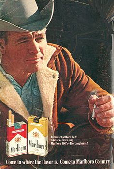 Image presents that Marlboro cigarettes are supposed to make people relax when smoking the cigarette. Many viewers might be persuaded that this cigarette is good to smoke and feel relax. Vintage Advertisements, Vintage Ads, Malboro, Classic Singers, Marlboro Cigarette, Marlboro Man, Morris, Old Tv, The Good Old Days