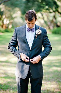 cotton boutonniere + bow tie