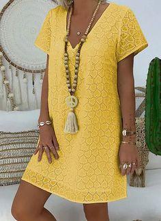 Summer Dress khaki V-Neck Polyester beach dress Simple Dresses, Casual Dresses, Summer Dresses, Knee Length Dresses, Short Sleeve Dresses, Long Sleeve, Khaki Dress, Dress Shirts For Women, Blouse Dress