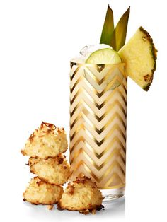 Lime-in-the-Coconut Macaroons and Tropical Christmas Cocktail by redbook #Macaroons #Lime #GF #Pineapple_Cocktail