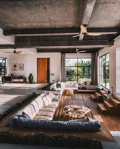Living Room Rug: How to Choose Best Rug? Find ideas for Living Room with many of inspiring photos from design professionals. Dream Home Design, Modern House Design, My Dream Home, Home Interior Design, Interior Architecture, Architecture Plan, Amazing Architecture, Sunken Living Room, Living Rooms