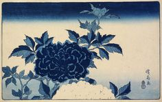 RISD Museum: Keisai Eisen, Japanese, 1790-1848; Takenouchi Magohachi, publisher, Japanese, late 18th century- mid 19th century. Peonies, 1830s. Color woodblock print. Plate: 22.9 x 36.8 cm (9 x 14 1/2 inches). Gift of Mrs. John D. Rockefeller, Jr. 34.509