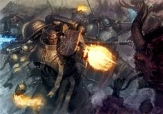 Colored up some Grey Knights, runnin and gunnin through a daemon horde. Original artist is Paul Dainton. Warhammer 40k Art, Warhammer Fantasy, Grey Knights, Knight Art, Space Marine, Oeuvre D'art, Les Oeuvres, Illustrators, Fantasy Art