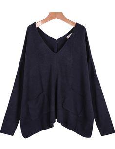 Jersey punto cuello pico bolsillos-azul 17.10