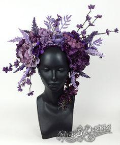 Purple Flower Headdress by MissGDesignsShop on Etsy