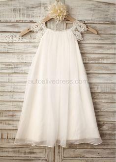 Chiffon Lace Cap Sleeves Flower Girl Dress