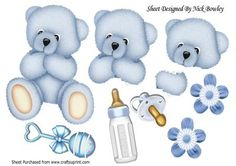 blue cuddly baby bear with rattle and bottle A4  on Craftsuprint designed by Nick Bowley - Blue cuddly baby bear with rattle and bottle A4, lovely for scrapbooking or card, Also can be seen in 8x8, with topper can be seen in 8x8 mini kit, makes a cute card - Now available for download!