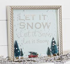 Let it Snow Shadow Box Snow Globe - This is too cute! Click for tutorial!