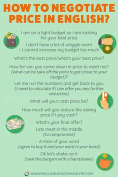 to negotiate price in English - What's your final offer? How to Negotiate Price in English. Useful English Phrases to help you negotiate price in English.How to Negotiate Price in English. Useful English Phrases to help you negotiate price in English. Advanced English Vocabulary, Learn English Grammar, English Vocabulary Words, Learn English Words, English Phrases, English Language Learning, Teaching English, Fluent English, French Language