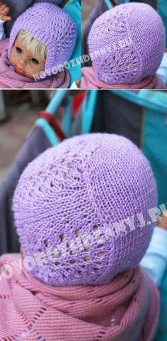 Ажурная шапочка для девочки спицами на весну - схема и описание с  | Уход за новорожденным