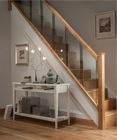 Axxys Reflections Oak and Glass 12 Step Staircase and Landing Balustrade Kit Modern Stairs Axxys Balustrade Glass Kit Landing Oak Reflections Staircase Step House Staircase, Staircase Railings, Staircase Ideas, Banisters, Staircases, Oak Handrail, Architecture Renovation, Glass Stairs, Glass Stair Railing