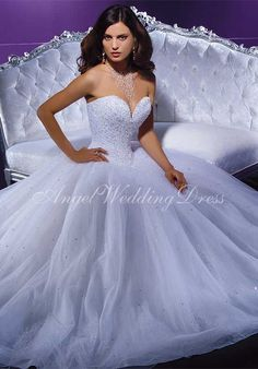 Ball Gown Sweetheart Floor Length Attached Tulle Beading Wedding Dress Style WD60934