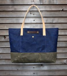 Waxed canvas bag/ carry all with  leather handles by treesizeverse via etsy