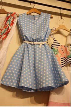 Polka Dot Sleeveless Dress GG716DF