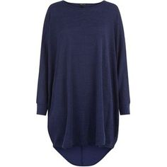 Navy Fine Knit Oversized Batwing Jumper