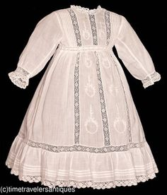 Circa 1910 Little Girl's Embroidered French Lawn Dress.