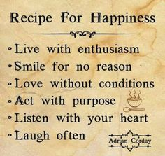 All Things Simplified: Inspiration: Recipe for Happiness