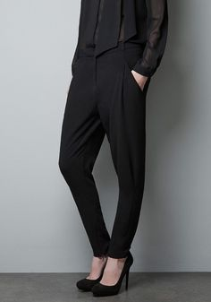 ++ Black Low Waist Loose Stretch Fabric Pants