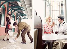 Old fashion engagement session, Brandon in his navy whites and i could be all dolled up with some pin up curls
