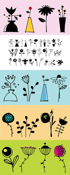 Flower Doodles font - cute, freshly cut blooms for summer! 15 line drawings with 15 corresponding reverses. Use a line drawing with its reverse, or use all the line drawings together, or just use the reverse ones, or mix and match them all. Lots of looks with these 30 flowers! http://www.fontbros.com/families/flower-doodles/styles/regular
