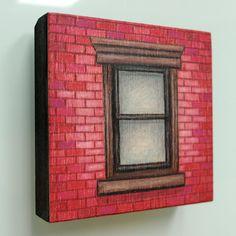 Mini close up dark red brick NYC window by LauraKaardalArtist