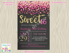 Sweet 16 Invitation pink and gold sweet 16 birthday by jcbabycakes
