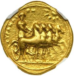 Kyrenaica, Kyrene, c. 322-308 BC. Gold Stater (8.59 g) minted c. 322-312 BC Quadriga driven right by Nike; in upper right field, star with rays (sun). Zeus Lykaios enthroned left holding eagle; before, thymiaterion. BMC 116; Naville 83; SNG Cop 1209 (possibly same dies). This gold issue was payment to the Macedonian forces to protect the semi-autonomous nature of Kyrene, center for the valuable silphium trade. Estimated Value $800 - 1,000. #Coins #Gold #Ancient #MADonC