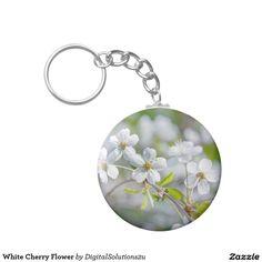 White Cherry Flower Basic Round Button Keychain