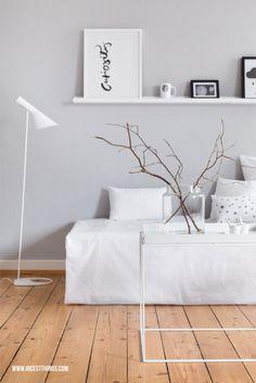 Wall Color! White Living Room / AJ Arne Jacobsen Lamp, Ylva Skarp Print