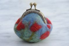 How to Make Tiny Wet-Felted Coin Purses: A Free Tutorial ...  A poppy covered felt coin purse.