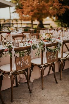 """45 Greast Rustic Wedding Decorations You Must Have A Look---outdoor ceremony with wood chair with greenery decors and wood baord with """"mr & mrs"""", spring wedding in the garden, fall weddings. Wedding Chair Signs, Wedding Chairs, Table Wedding, Wooden Wedding Signs, Garden Wedding, Wedding Lanterns, Wedding Table Decorations, Table Centerpieces, Quinceanera Centerpieces"""