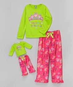Look at this Green & Pink Princess Pajama Set & Doll Outfit - Girls on #zulily today!