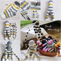 Sock Monkey Puppet — stuffed toy made from brown work socks have delighted children for decades. You don't need to be an expert sewer to make one. Diy Sock Toys, Sock Crafts, Diy Toys, Diy Crafts, Diy For Kids, Crafts For Kids, Sock Monkey Pattern, Monkey Puppet, Monkey Crafts