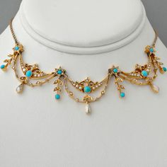 Antique Victorian NecklaceTurquoise, Seed-Pearl Mother-of-Pearl