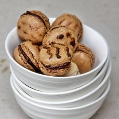 Inspired by the wild side, double coffee macarons with a mocha ganache filling!