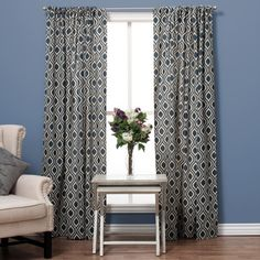 Ogee Cotton Print Rod Pocket Curtain Panel