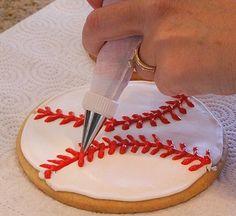The Recipe Girl: Baseball Cookies *royal icing recipe also Softball Cookies, Softball Party, Baseball Birthday Party, Softball Stuff, Baseball Treats, Baseball Mom, Baseball Desserts, Espn Baseball, Baseball Scores