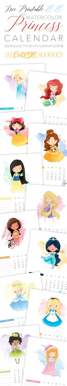Free Printable 2020 Watercolor Princess Calendar - The Cottage Market