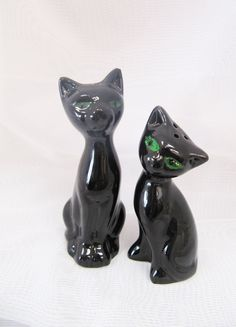 Vintage Pair of Black Cats Salt and Pepper Shakers Green Eyes Figurines Under 20 Dollars Gifts  by BygoneAllure on Etsy https://www.etsy.com/listing/272353418/vintage-pair-of-black-cats-salt-and