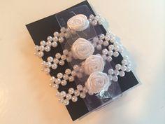White Pearl Corsage Wristlets set of four by PetalandForrest
