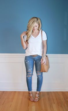 Outfitted411: Tee & Jeans...distressed denim, casual outfit