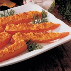 Baked Stuffed Carrots Recipe -The preparation makes this side dish much more impressive than plain cooked carrots—and it tastes better, too!—Roma Steckling, Aitkin, Minnesota